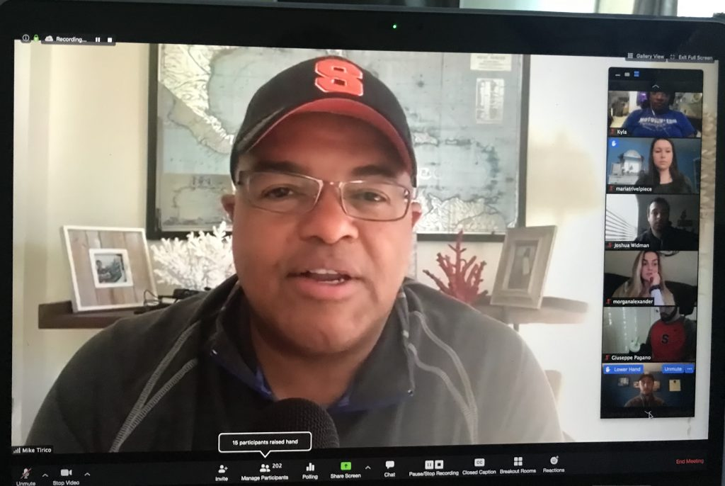 Ian Eagle and Mike Tirico Meet with Students, Virtually